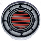 """LEGO Light Gray Tile 2 x 2 Round with Red & Black Vent with """"X"""" Bottom"""