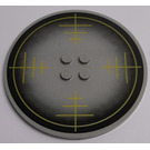 LEGO Light Gray Tile 8 x 8 Round with 2 x 2 Center Studs with Yellow Crosshairs, Black Outer Circle