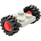 LEGO Light Gray Vintage Axle Plate With Red Wheel Hub and Small Offset Treaded Tyre