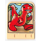 LEGO Jaune clair Explore Story Builder Meet the Dinosaur story card with red dinosaur pattern