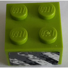 LEGO Lime Brick 2 x 2 with Black and White Danger Stripes (Left) Sticker
