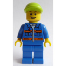 LEGO Lime Cap, Blue Jacket, Orange Stripes, Lopsided Open Grin Minifigure