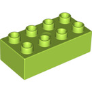 LEGO Lime Duplo Brick 2 x 4 (3011)