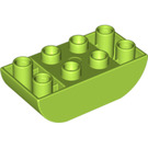 LEGO Lime Duplo Brick 2 x 4 with Curved Bottom (98224)