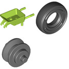 LEGO Lime Minifigure Wheelbarrow with Dark Stone Wheel and Black Tire