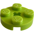 LEGO Lime Plate 2 x 2 Round with Axle Hole (with '+' Axle Hole) (4032)