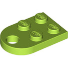 LEGO Lime Plate 2 x 3 with Rounded End and Pin Hole (3176)