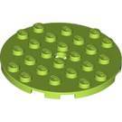 LEGO Lime Plate 6 x 6 Round with Tube Pin (11213)