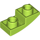 LEGO Lime Plate with Half Bow Inverted 1 x 2 x 2/3 (24201)