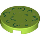 LEGO Lime Round Tile 2 x 2 with Foilage Decoration with Bottom Stud Holder (25663)