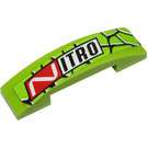 LEGO Lime Slope 1 x 4 Curved Double with Snake Skin and 'NITRO' Sticker