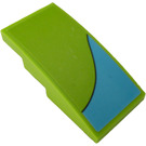 LEGO Lime Slope 2 x 4 Curved with Medium Azure Curved Stripe (Left) Sticker