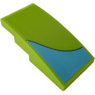 LEGO Lime Slope 2 x 4 Curved with Medium Azure Curved Stripe (Right) Sticker