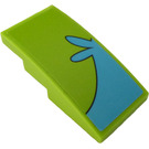 LEGO Lime Slope 2 x 4 Curved with Medium Azure Pattern on the Right Side Sticker