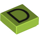 LEGO Lime Tile 1 x 1 with 'D' Decoration with Groove (13409)
