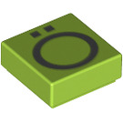 LEGO Lime Tile 1 x 1 with Decoration with Groove (13449)