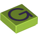 LEGO Lime Tile 1 x 1 with 'G' Decoration with Groove (13413)