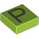 LEGO Lime Tile 1 x 1 with Letter P Decoration with Groove (13425)