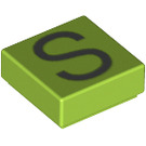 LEGO Lime Tile 1 x 1 with Letter S Decoration with Groove (13428)