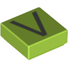 LEGO Lime Tile 1 x 1 with Letter V Decoration with Groove (13431)