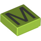 LEGO Lime Tile 1 x 1 with 'M' Decoration with Groove (13421)