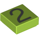 LEGO Lime Tile 1 x 1 with Number 2 Decoration with Groove (13440)