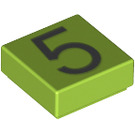 LEGO Lime Tile 1 x 1 with Number 5 Decoration with Groove (13443)