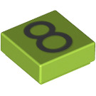 LEGO Lime Tile 1 x 1 with Number 8 Decoration with Groove (13446)