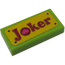 LEGO Lime Tile 1 x 2 with 'Joker' License Plate Sticker with Groove