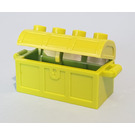 LEGO Lime Treasure Chest with Lid (Thick Hinge with Slots in Back)