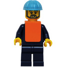 LEGO Maersk Train Worker with Safety Vest Minifigure Head with Gray Beard