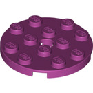 LEGO Magenta Plate 4 x 4 Round with Hole and Snapstud (60474)