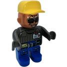 LEGO Male Action Wheeler, Blue Legs, Dark Gray Top