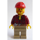LEGO Male Dark Red Shirt with Red Helmet Minifigure
