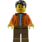 LEGO Male Orange Jacket with Hood over Light Blue Sweater, Dark Tan Legs, Black Short Tousled Hair Minifigure