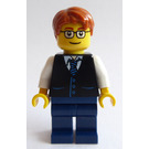 LEGO Male Wearing Glasses Dark Blue Legs, Dark Stone Grey Vest Over White Shirt and Tie Minifigure