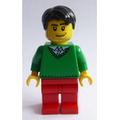 LEGO Male with Black Short Tousled Hair, Stubble Beard, Green V-Neck Sweater, and Red Legs Minifigure