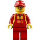 LEGO Man in Red Overalls with Chinese Characters Minifigure