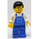 LEGO Man with Blue Overalls and Black Hair Minifigure