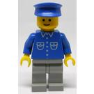 LEGO Man with Blue Shirt, Light Gray Legs, Blue Hat Minifigure