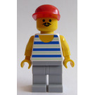 LEGO Man with Blue / White Stripes with Red Cap Minifigure