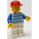 LEGO Man with Horizontal Blue Lines, Red Cap Minifigure