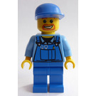 LEGO Man with Overalls with Tooling, Blue Cap and Beard around Mouth Minifigure