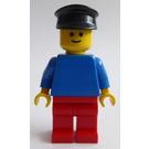LEGO Man with Plain Blue Torso, Red Legs, Black Hat Minifigure