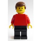 LEGO Man with Plain Red Torso, Black Legs, Brown Hair Minifigure