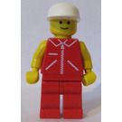 LEGO Man with Red Jacket with Zipper, Red Legs, White Cap Minifigure