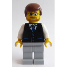 LEGO Man with Reddish Brown Hair, Glasses, Black Vest and Blue Striped Tie with Light Stone Gray Legs Minifigure