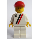 LEGO Man with White with Red and Black Stripe, Red Cap Minifigure