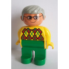 LEGO Man with Yellow Argyle Sweater and Gray Hair