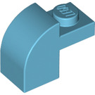 LEGO Medium Azure Brick 1 x 2 x 1.33 with Curved Top (6091 / 32807)